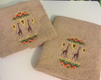 Embroidered Hand and Bath Towels, Out of Africa Design