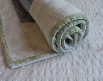 100% Cotton Botanical Baby Quilt w/ Coordinating Doll Quilt