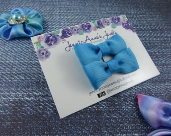 Bow Tie Hair Clip - Set of 2 - Dark Blues