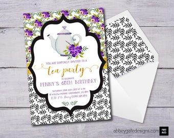 Tea Party Invitation, Tea Party Birthday Invitation, Tea Party Invite, Tea Party Birthday Invite, Teapot Invitation, Birthday Tea Party