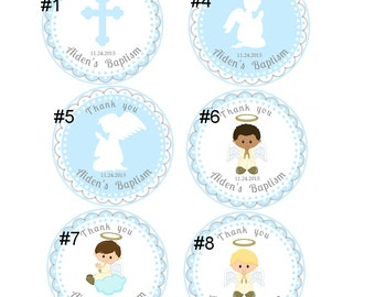 Baptism stickers for boy,Boy Baptism thank you tags stickers,Christening stickers for boy,Holly Communnion thank you stickers tags for boy,