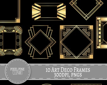 Art Deco Frames Black and Gold, 10 PNGs, Commercial Use, gold gatsby borders and frames, 10 gold digital frames, diy twenties scrapbooking