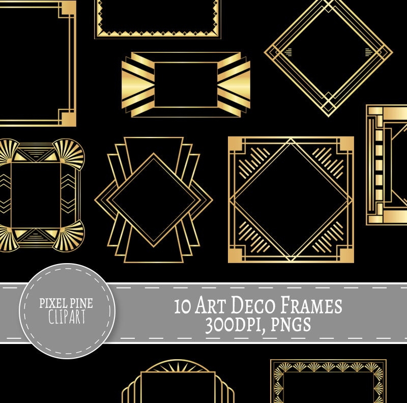 art deco frames black and gold 10 pngs commercial use gold gatsby borders and frames 10 gold digital frames diy twenties scrapbooking