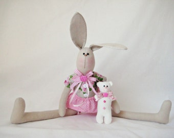 Bunny/ Tilda bunny/ Bunny and Teddy Bear/ Rabbit/ Nursery room/ Baby gift/ Tilda doll/Home decor/
