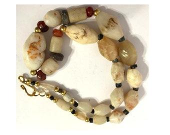 Rare Ancient Roman Agate Necklace of Semi-Precious Carved Stones