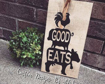 Good Eats Country Kitchen Farmhouse Rustic Decor, Housewarming gift, Birthday Present, Bridesmaid gift, Bridal Shower, Gift for Her