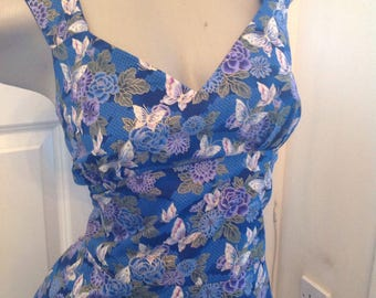 "Blue butterfly tea dress, 1950s pin up dress size 12 bust 36"" , navy blue and purple butterfly print, pure cotton sundress"