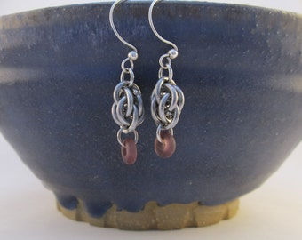 Stainless Steel Sweet Pea Chain Mail Earrings with Purple Glass Beads