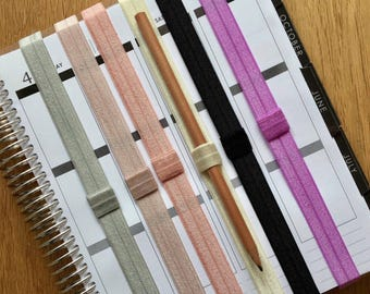 Planner Bands ~ Plain Elastic with Pen Holder ~ Erin Condren, Kikki K, Filofax planners and notebooks etc
