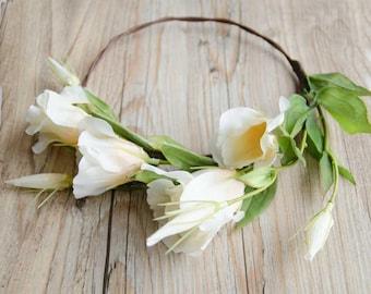 White Bellflower silk flower crown, wedding crown