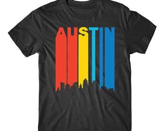 Retro 1970's Style Austin Texas Cityscape Downtown Skyline T-Shirt