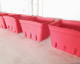 10 Red Berry Baskets ~ Food Safe Packing ~ Craft Projects ~ Storage Basket ~ Set of 10