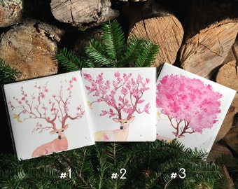 "Set of 4 greeting cards ""4 seasons"" handmade watercolor * 4 pack of greetings cards ""4 seasons"" handmade watercolor"