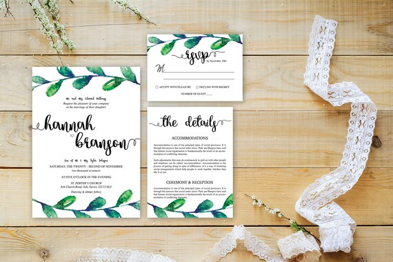 Watercolor leaf wedding invite,Printable Wedding Invitation Suite,Wedding Invite Set,Wedding Printable,Calligraphy