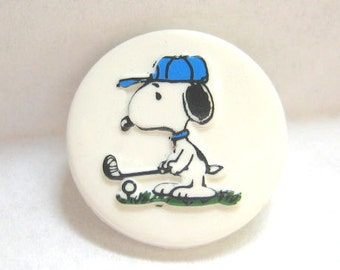 Snoopy Playing Golf Plastic Sewing Button Peanuts Gang Charles Schulz