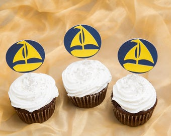 Sailboat cupcake toppers, birthday baby shower wedding party supplies, cake toppers, set of 12, navy and yellow