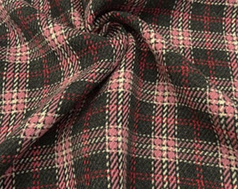 Fuchsia/White/Multi Plaid Wool Blend Coating Fabric 57W