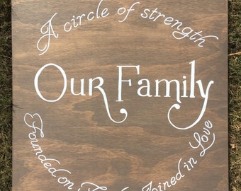 Our Family Wood Sign, A circle of strength founded on faith joined in love, Wood Sign, Handmade, Custom, Family