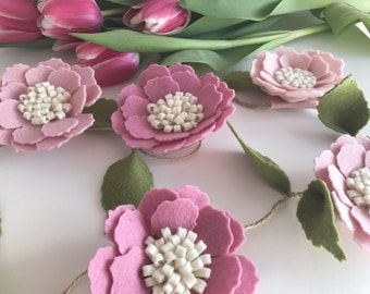 Floral felt flower garland nursery decor newborn baby