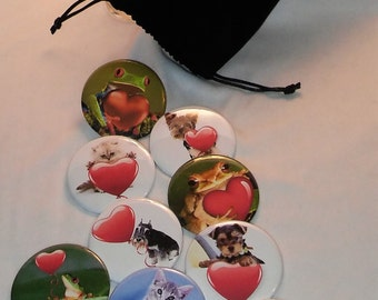 "6 Animals With Heart Buttons, 2.25"" Cat Pin Back Button, Frog Lover Magnet, Dog Lover Favors, Great Valentine Gift, Black Sack Buttons"