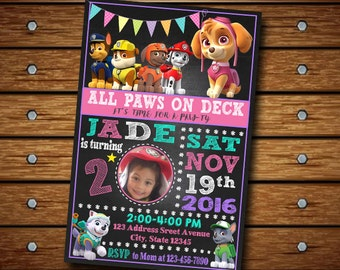 Paw Patrol Invitation / Paw Patrol Girl / Paw Patrol Birthday Invitation / Paw Patrol Party / Paw Patrol Birthday / Birthday Invitation