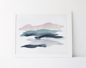 Watercolor Painting, Modern Watercolor Fine Art Giclée Print, Abstract Landscape, Sage, Indigo and Rose