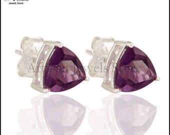 Amethyst Gemstone Earring Stud, 925 Sterling Silver Gemstone Stud Jewelry Gemstone Party Wear Earring