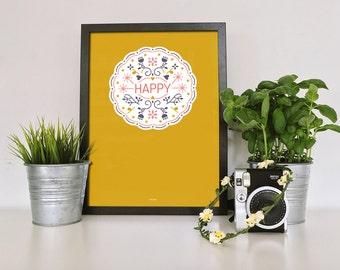 HAPPY! print digigraphie - 210 gr - sleek graphics watercolor paper - 20x30cm
