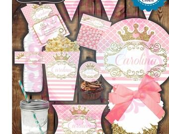 PINK PRINCESS CROWN Invitation Party Kit (Digital) (Personalized) (Printable)