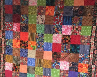 Country Squares Lap Quilt, vibrant, joyful colors to brighten up your picnic.  Machine washable, handmade
