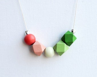 Geometric Necklace, Boho necklace, Statement Necklace, Bohemian Jewelry, Handmade necklace, Wooden necklace