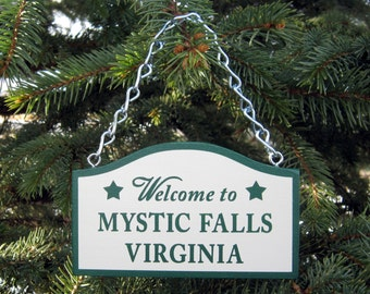 Handmade Mystic Falls Christmas Tree Ornament Inspired by Vampire Diaries Town Sign Virginia