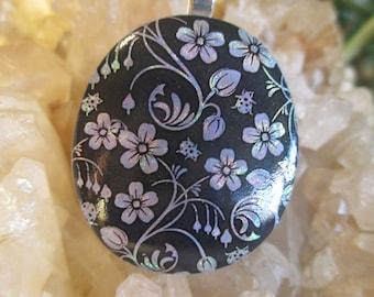 Lavender Pearl Flower Dichroic Pendant