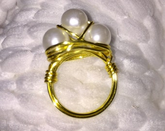 Wire Wrapped White Pearl Ring, Gold Plated 3 Pearl Ring, Handmade ring