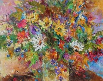 Original oil painting, autumn bouquet