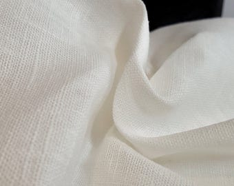 Pure, natural, flax, LINEN fabric. Off white. 180cm wide. Medium weight. Perfect for crafts and homewares.