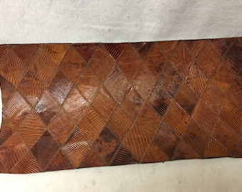 """AM033 Cognac Colored Lizard Print Leather Aprox 23""""LX11""""W X 1/32"""" Thick/ LG"""