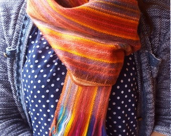 Alpaca Scarf Orange Stripes Multicolor