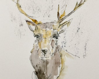 "Original pen and ink drawing with watercolor wash ""Elk"""