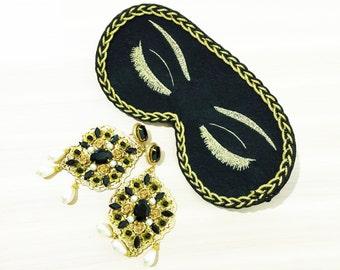 Black Audrey Hepburn Sleep Mask Breakfast at Tiffanys Eye Mask Holly Golightly Sleep Mask Handmade Night Mask with Embroidery Eyelashes Mask