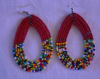 African Maasai Beaded Hoop Earrings | Beaded earrings | Multi color Earrings | Red hoop earrings | Elegant Earrings | Gift for Her