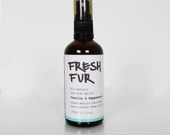 VANILLA + PEPPERMINT, dog coat spray, dog coat spritz, pet aromotherapy spray, clean fur spray, dog bedding spray, fur fragrance, clean dog