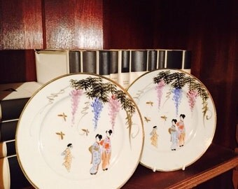 2 Oriental Chinese/Japanese Hand Painted Plates with Geisha/Chinese Ladies,Oriental, Chinese tableware,Collectable Plates, Hand Painted