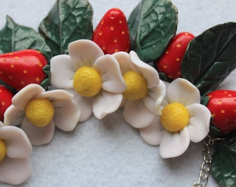 SALE Red Strawberry White Flower Bracelet from Polymer Clay