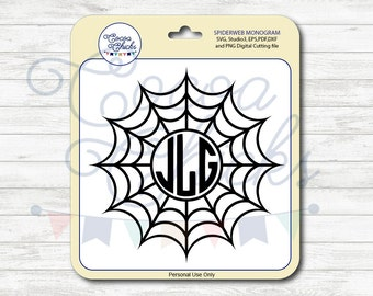 Halloween monogram / Spider web / SVG Cutting Files / svg, dxf, studio3, eps, pdf, png / Digital file / Cuttable file / Silhouette files