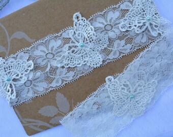 Ivory Lace Garter, Wedding Garter, Bridal Garter Set, White Garter, Butterfly Garter, Bridal Garter, Lace Garter, Wedding Garter, Garter Set