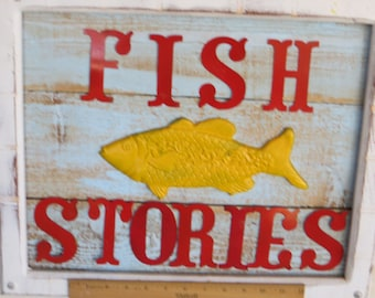 FISH STORIES    Rough Cedar Wall Hanger,  One-of-a-Kind Coastal