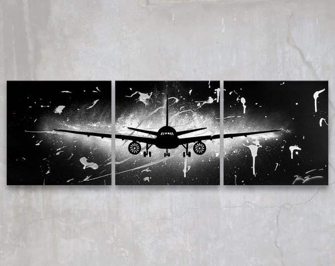 boeing 777 // custom original painting // modern triptych // airplane art // metallic large wall art // silver plane painting silhouette