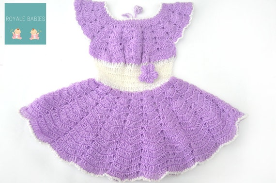 Baby Dress, Crochet Baby Dress, Infant Girl outfit, purple and white Dress, Baby Girl Apparel, Newborn Frock, Baby Dress, purple and white