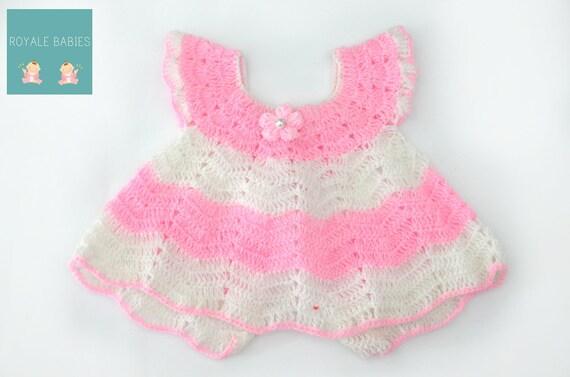 Crochet Baby Dress  Newborn Girl In Pinks And White, crochet baby dress, photo prop clothes, crochet newborn dress, Pink newborn